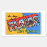 Postal grande retra de la letra de Elkins WV del Rectangular Pegatinas