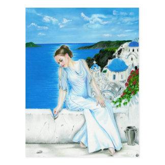 Postal griega de la diosa de Santorini