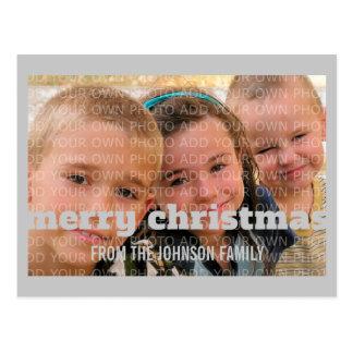 Postal gris de la foto de las Felices Navidad de l