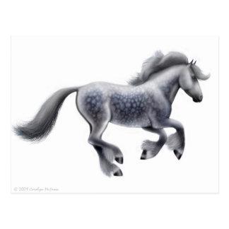 Postal gris galopante del caballo de proyecto