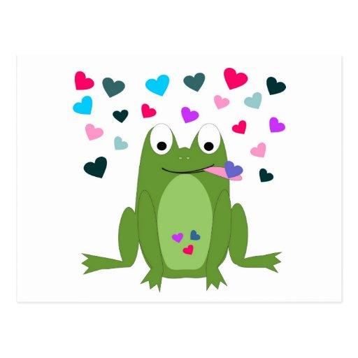 Postal hambrienta de la rana del amor