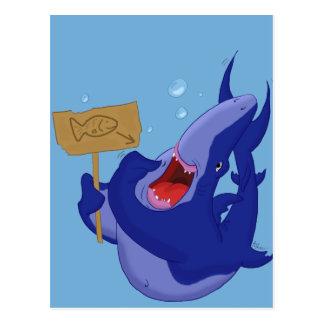 Postal hambrienta del tiburón azul