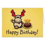 """Postal """"Happy Birthday! """"con alce Elmondo Tarjeta De Felicitación"""