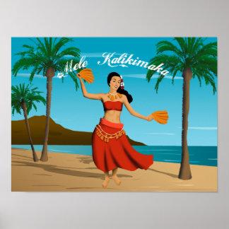 Postal hawaiana de Mele Kalikimaka del vintage Póster