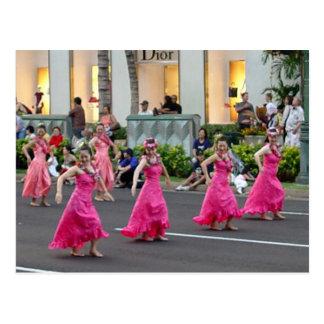 Postal hawaiana del desfile del día de fiesta