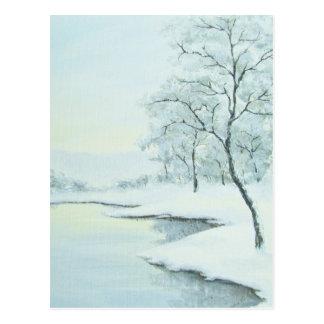 Postal helada del paisaje del invierno