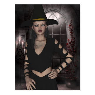 Postal hermosa de la bruja de Halloween