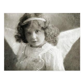 Postal hermosa del chica del ángel del vintage