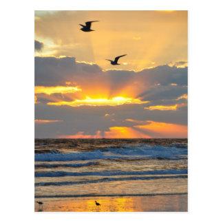 Postal hermosa del paisaje de la salida del sol de