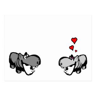 Postal - hipopótamo en amor - Nilpferd