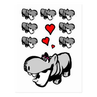 Postal - hipopótamo en amor - verliebtes Nilpferd