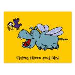 Postal: Hipopótamo y pájaro del vuelo