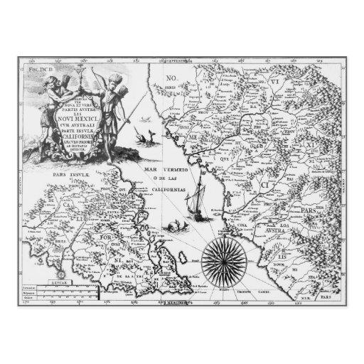 Postal histórica 1702 de México California del map