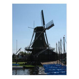 Postal holandesa de la silueta del molino de vient