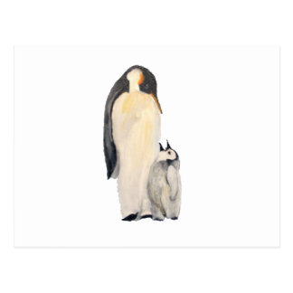 """""""Postal horizontal del pingüino del padre y del hi"""