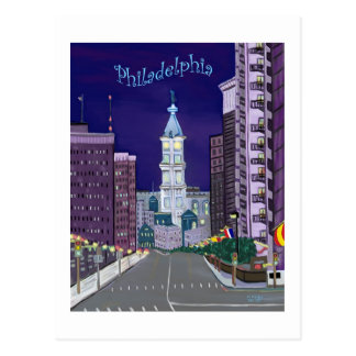 Postal illuminada de la ciudad