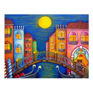 Postal iluminada por la luna de Venecia