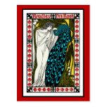 Postal: Ilustraciones del pavo real de Nouveau del