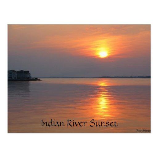 Postal india de la ciudad del océano de la puesta