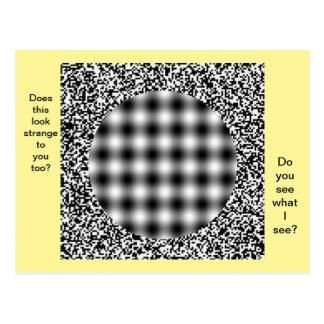 Postal inusual, extraña de la ilusión óptica
