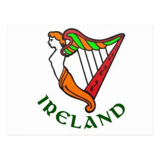 Postal irlandesa de la arpa