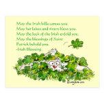 Postal irlandesa de los tréboles del conejo del di