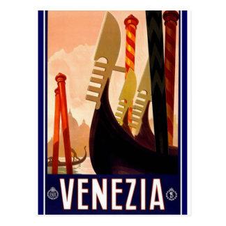 Postal italiana del poster del vintage de Venecia