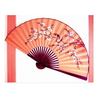 Postal japonesa de la decoración de la fan
