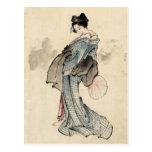 Postal japonesa de la mujer