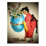 Postal japonesa de la señora del vintage y del hue