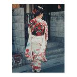 postal japonesa de las vacaciones del kimono