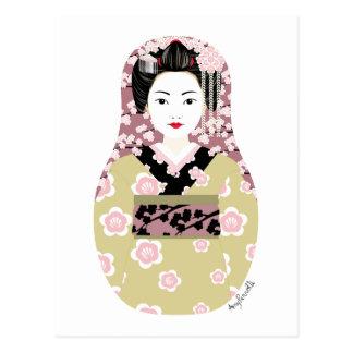 Postal japonesa de Matryoshka del geisha