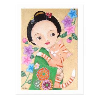 Postal japonesa del geisha y del gato