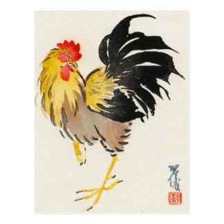Postal japonesa del vintage del gallo