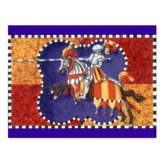 Postal Jousting del caballero medieval