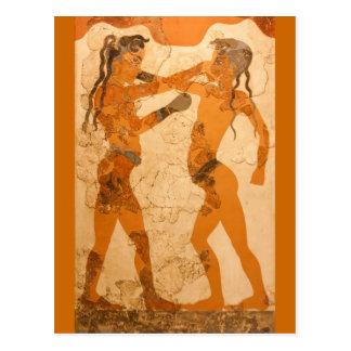 Postal joven de los boxeadores del fresco griego
