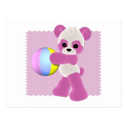 Postal juguetona de la niña de la panda