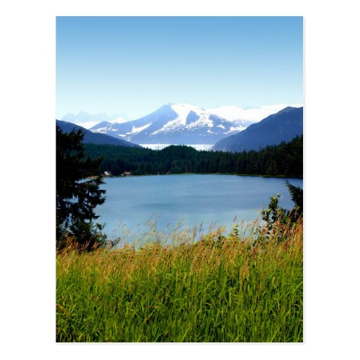 Postal:  Lago y glaciar Mendenhall