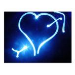 Postal ligera azul del corazón