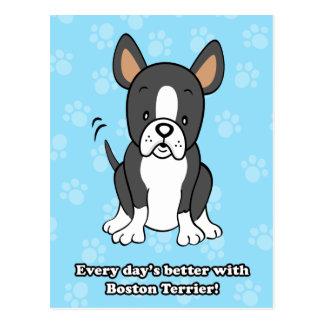 Postal linda de Boston Terrier del dibujo animado