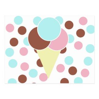 Postal linda de encargo del cono de helado