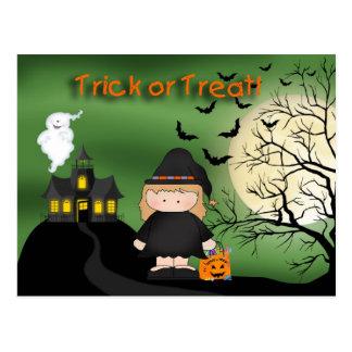 Postal linda de la bruja de Halloween