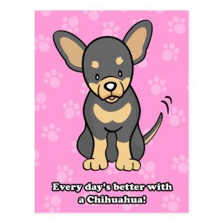 Postal linda de la chihuahua del perro del dibujo