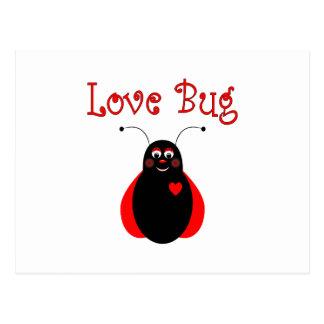 Postal linda de la mariquita del insecto del amor