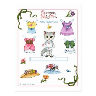Postal linda de la muñeca del papel del gato del