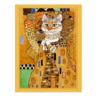 Postal linda de la parodia del gato del oro de