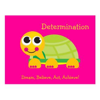 Postal linda de la tortuga de la determinación