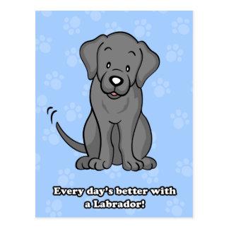 Postal linda de Labrador del perro del dibujo anim