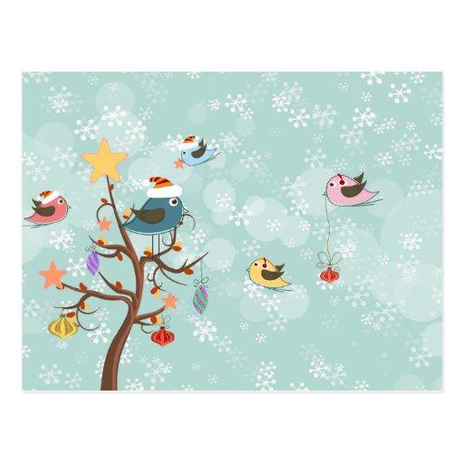 Postal linda de los pájaros del navidad