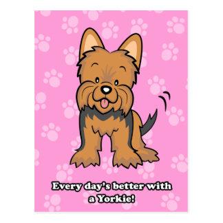 Postal linda de Yorkie del dibujo animado